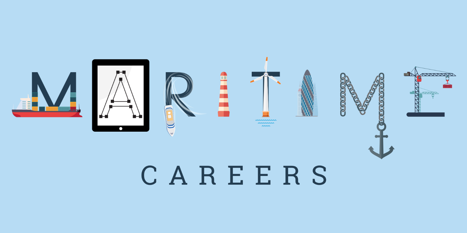 Maritime Careers logo - the letters incorporate imagery of boats, an anchor, a lighthouse, a wind turbine