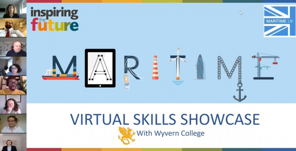 Eight speakers' cameras on the left-hand side of a webinar title screen displaying: Webinar title slide - Maritime Virtual Skills Showcase with Wyvern College, with imagery of ships, a lighthouse, anchor and a wind turbine.