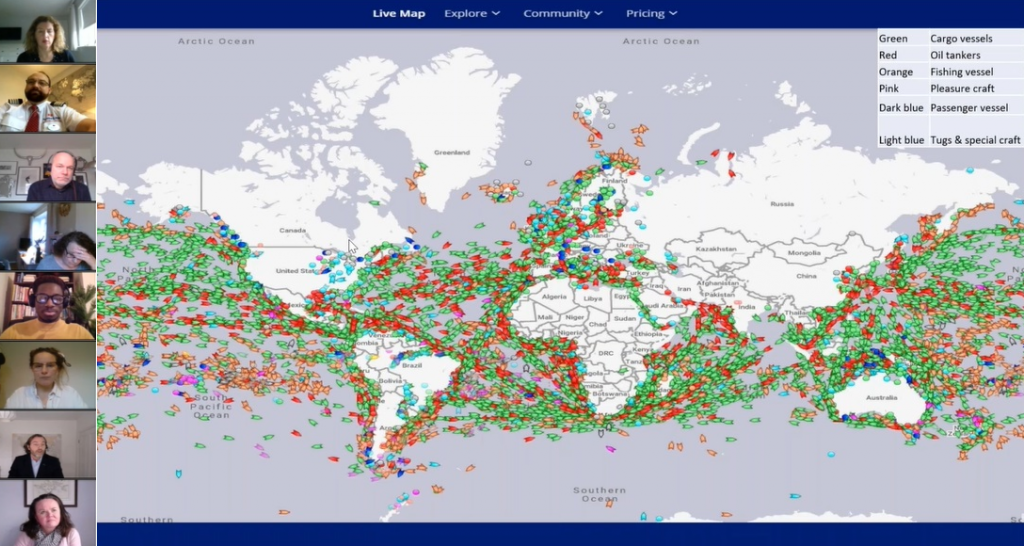 Eight attendees' cameras show on the left-hand side of a webinar slide, displaying a world map which shows all different kinds of ships that are travelling the seas at any one time.
