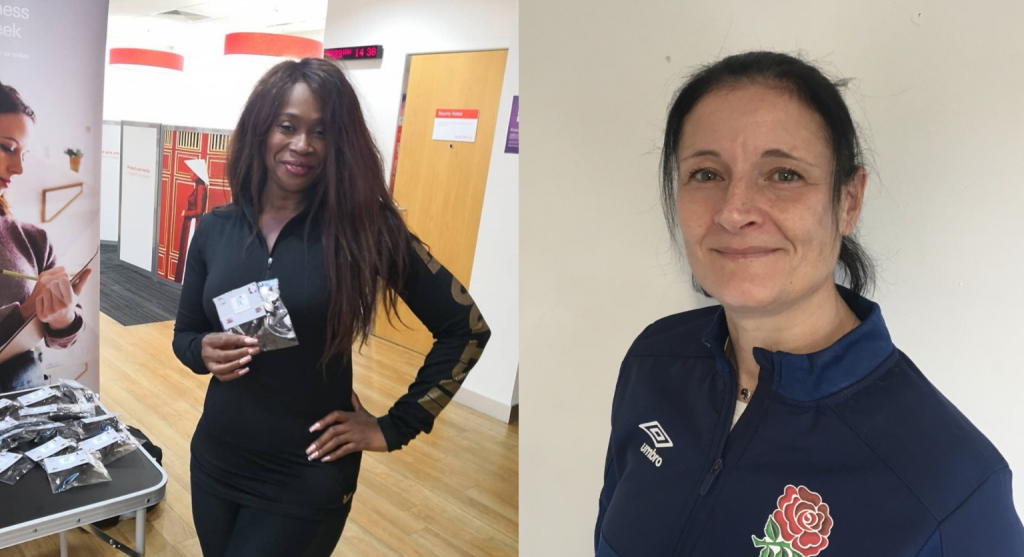 Split image of two volunteers from our Inspiring Women video: on the left is Rhoda standing in an office holding cards, and on the right is Claire wearing an England Rugby jumper.