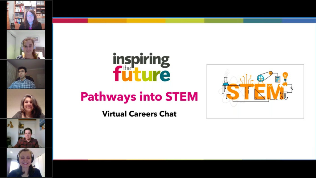 "webinar screen - ""Inspiring the Future Pathways into STEM Virtual careers chat"" with volunteers' videos on the left-hand side."