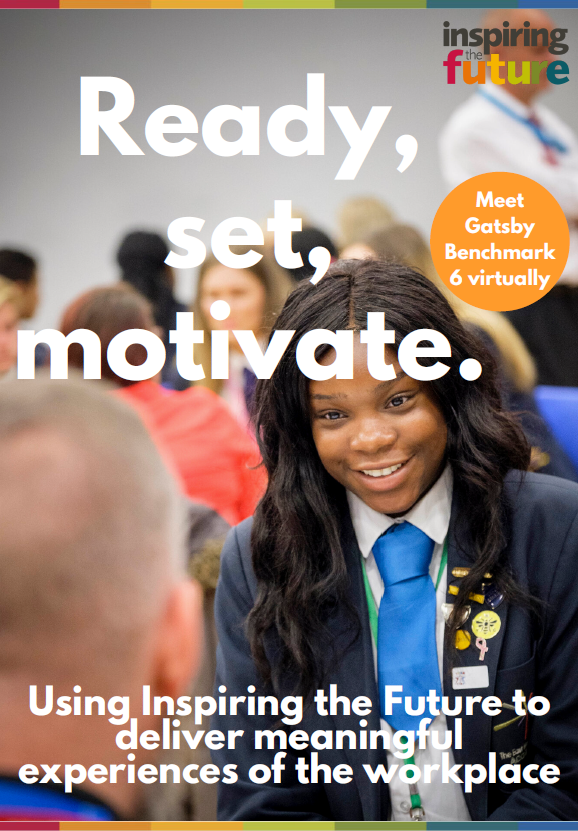 """Cover of resource """"Ready, set motivate"""" with image of young person smiling at a volunteer who is facing away from the camera"""