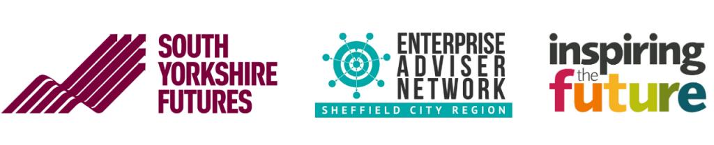 Logos of: South Yorkshire Futures, Enterprise Adviser Network, Inspiring the Future