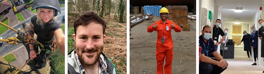 Image of four volunteers in the Uplifting Futures resource: Jaki, who is taking a selfie while climbing a tree, a selfie of Sam in a forest, Shruthi wearing an orange uniform and helmet in a ship dock, and Mike sitting in a hospital corridor with colleagues wearing masks