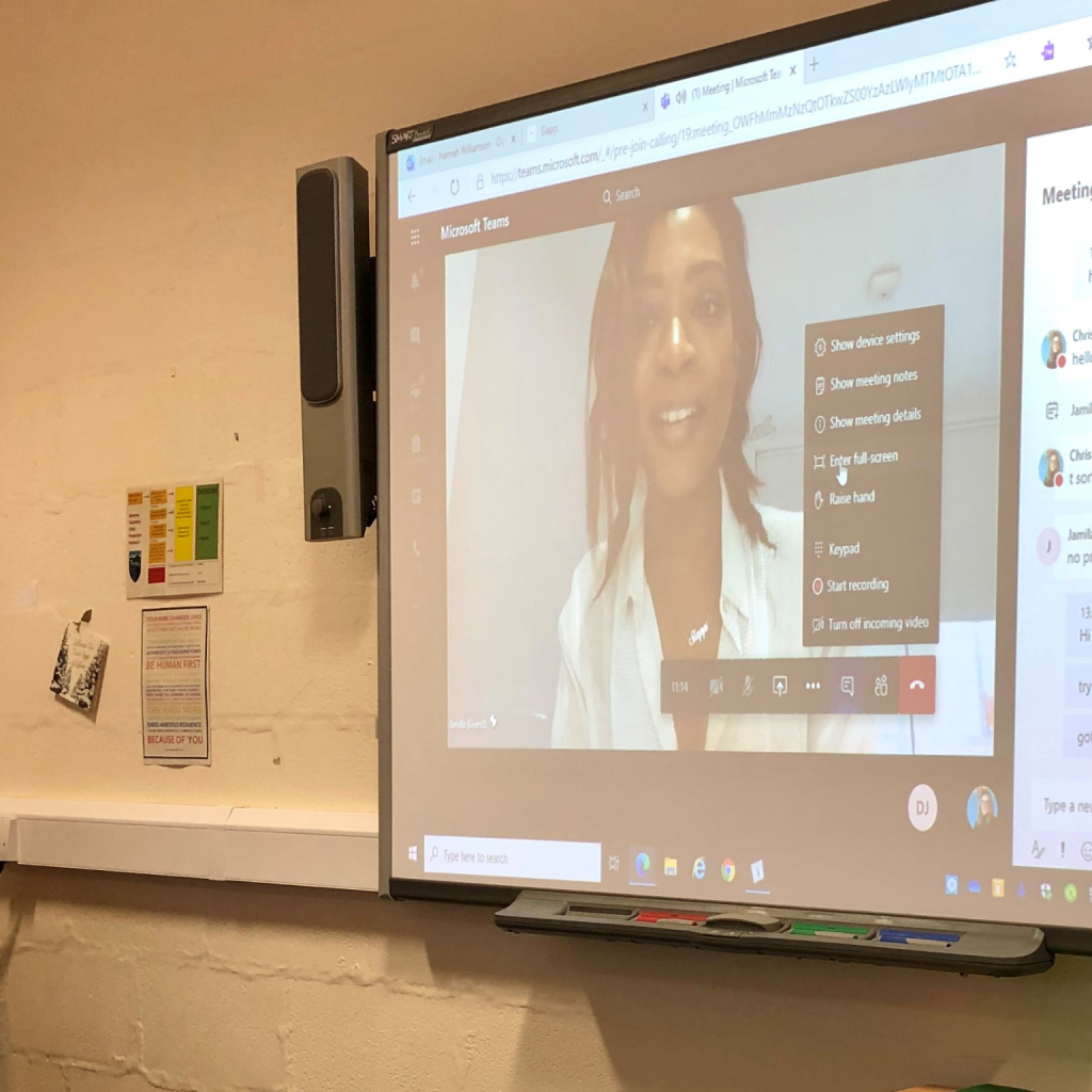 Taken from the classroom, Jamila presents to the students on an interactive whiteboard via Microsoft Teams
